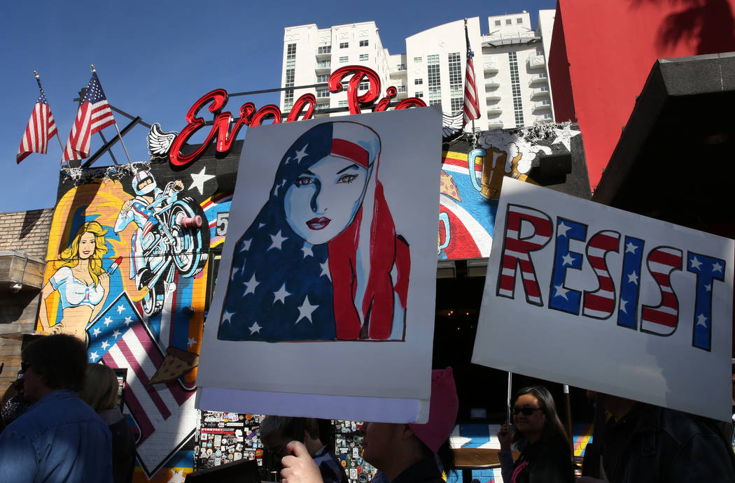 People participate in Empowering Women March on Saturday, Jan. 19, 2019, in downtown Las Vegas. Bizuayehu Tesfaye/Las Vegas Review-Journal @bizutesfaye