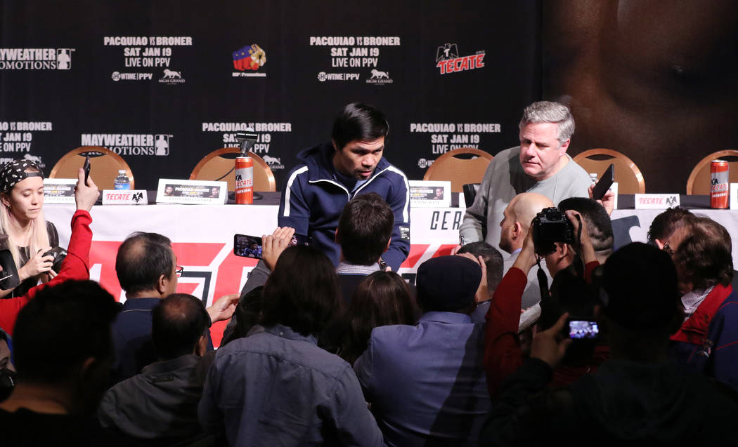 Eight-division world champion boxer Manny Pacquiao meets with media at the David Copperfield Theater at the MGM Grand in Las Vegas, Wednesday, Jan. 16, 2019. Pacquiao will face Adrien Br ...