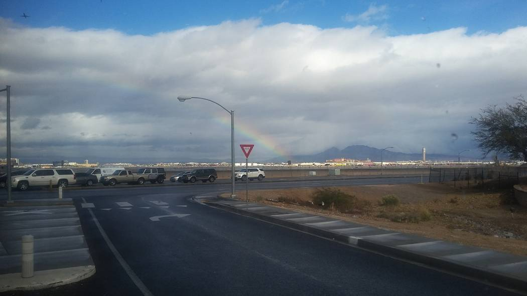 A rainbow seen from Sunset Road and Las Vegas Boulevard South in southern Las Vegas on Thursday, Jan. 17, 2019. (Tony Garcia/Las Vegas Review-Journal)