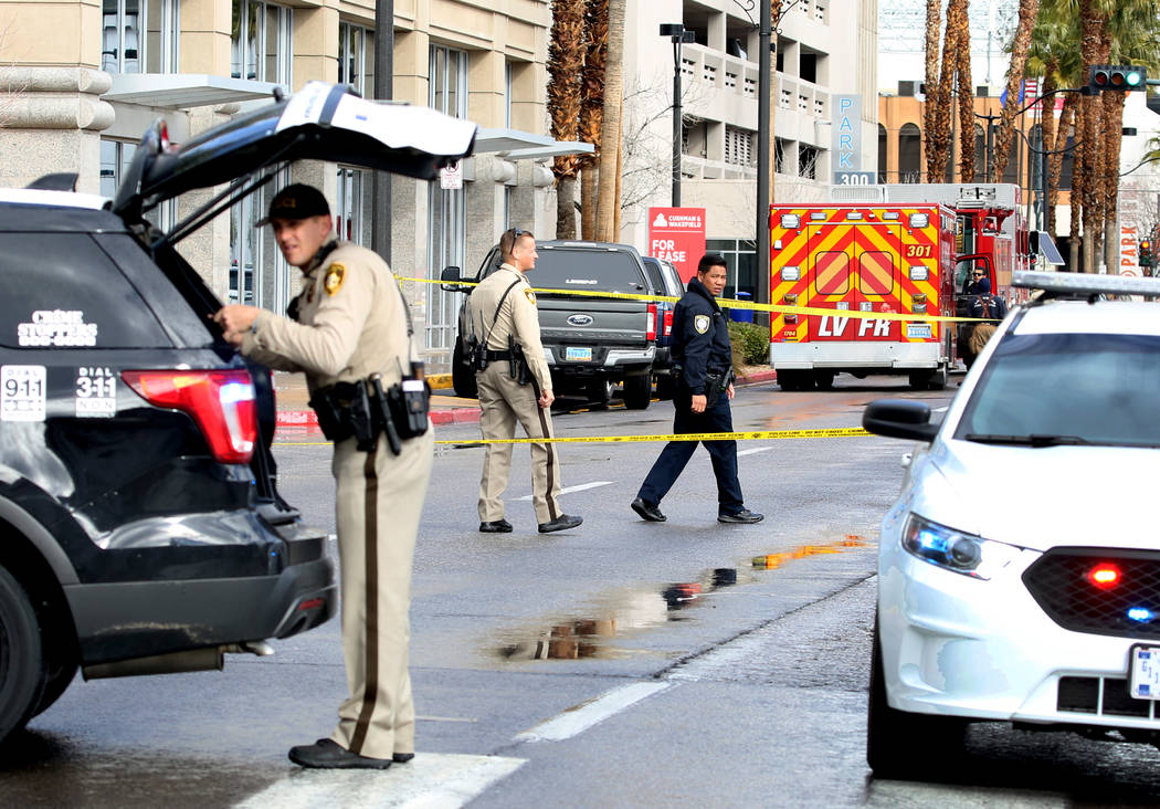 Metro police are investigating a suspicious package after responding to a reported bank robbery in the 300 block of South Fourth Street in downtown Las Vegas on Thursday, Jan. 17, 2019. (Bizuayehu ...