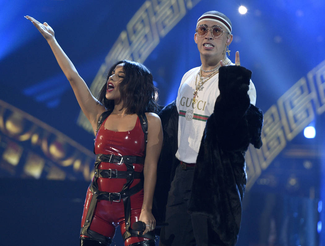 """Becky G, left, and Bad Bunny perform """"Mayores"""" at the Latin American Music Awards at the Dolby Theatre on Thursday, Oct. 26, 2017, in Los Angeles. (Photo by Chris Pizzello/Invision/AP)"""