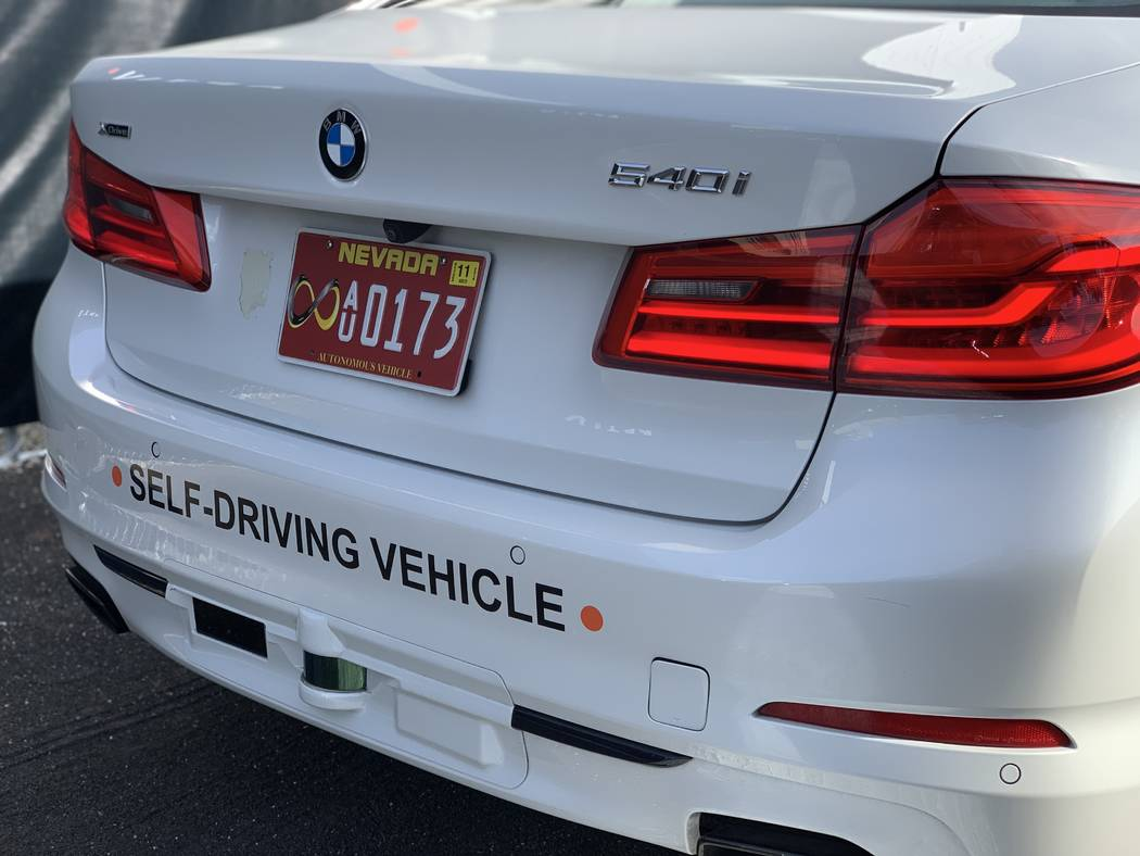 The Aptiv self-driving BMW on the Lyft platform features two LiDAR sensors, one short-range and one long-range on the rear bumper. (Mick Akers/Las Vegas Review-Journal)