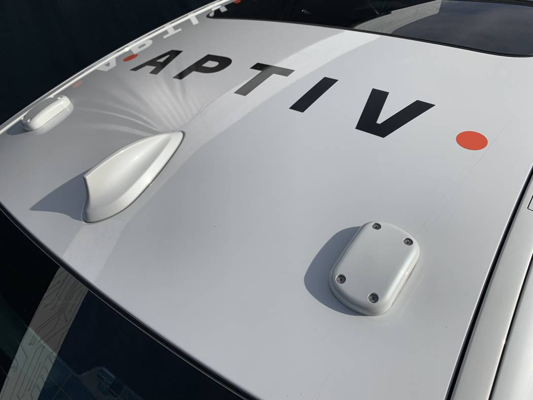 The Aptiv self-driving BMW on the Lyft platform features two GPS sensors and a dedicated short-range communications antenna on the roof of the vehicle. (Mick Akers/Las Vegas Review-Journal)