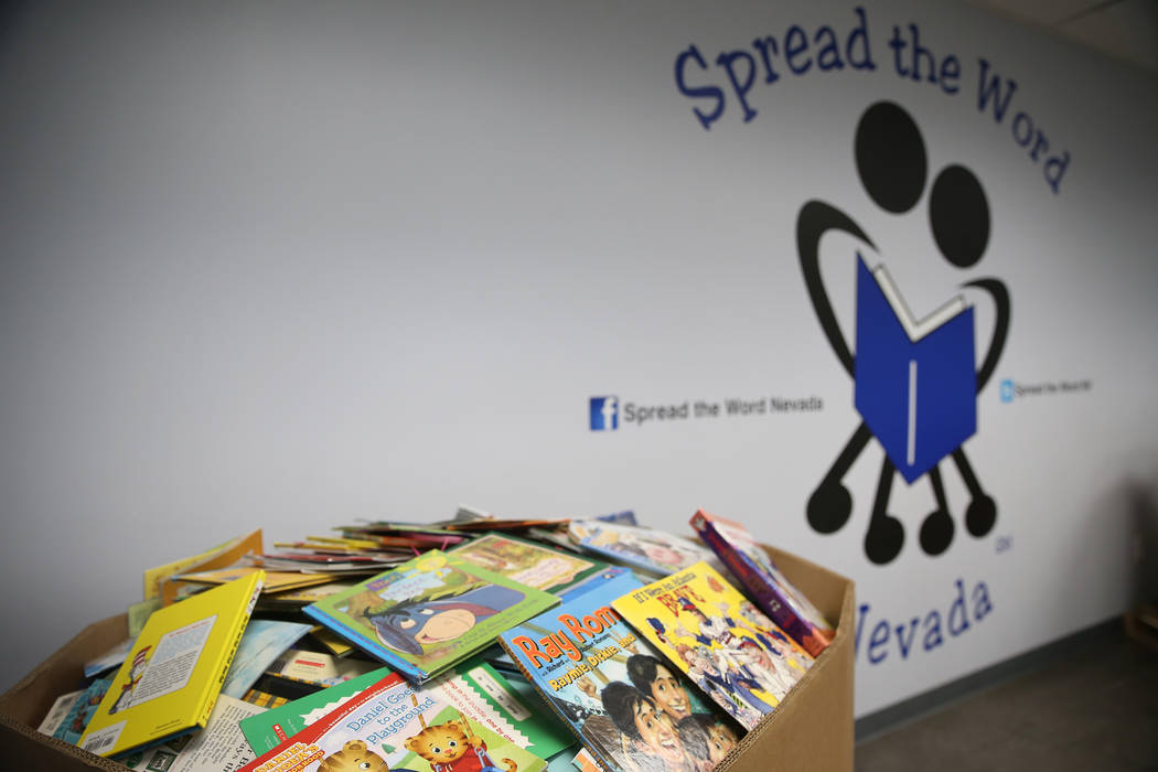 The Spread the Word Nevada offices and warehouse in Henderson, Thursday, Jan. 17, 2019. Carlos Santana's Milagro Foundation made a donation to provide more than 15,000 books to 57 schools in South ...
