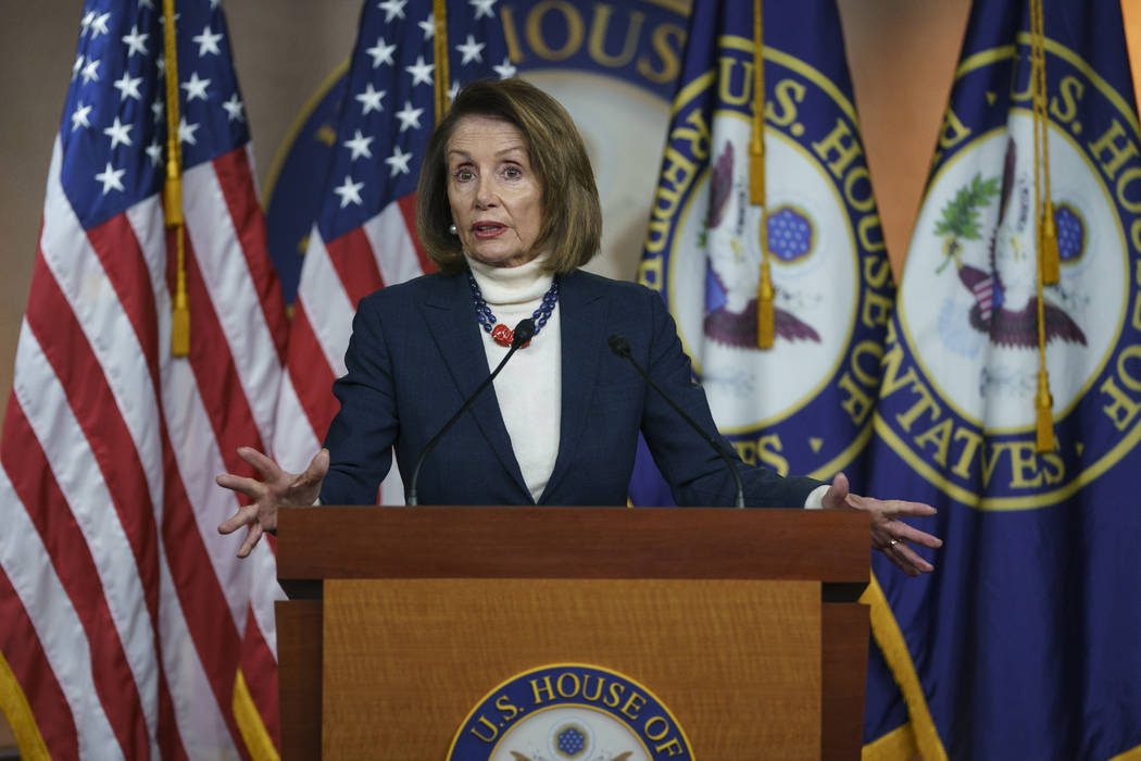 House Speaker Nancy Pelosi of California speaks during a news conference on Capitol Hill in Washington, Thursday, Jan. 17, 2019. (Carolyn Kaster/AP)