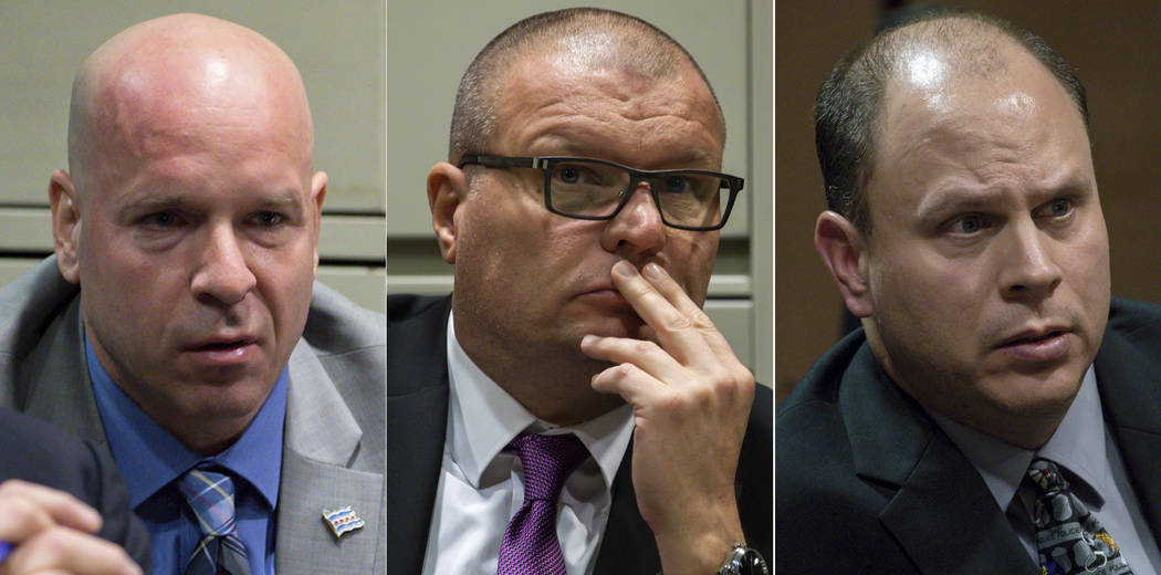 Former Chicago Police officer Joseph Walsh, left, former detective David March and former officer Thomas Gaffney during a bench trial before Judge Domenica A. Stephenson at Leighton Criminal Court ...