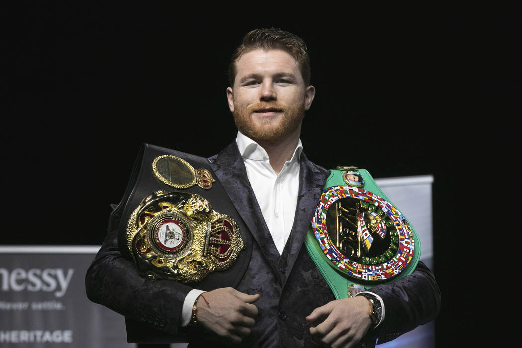 Boxer Canelo Alvarez poses for photos at Madison Square Garden, in New York, Wednesday, Oct. 17, 2018. (AP Photo/Richard Drew)