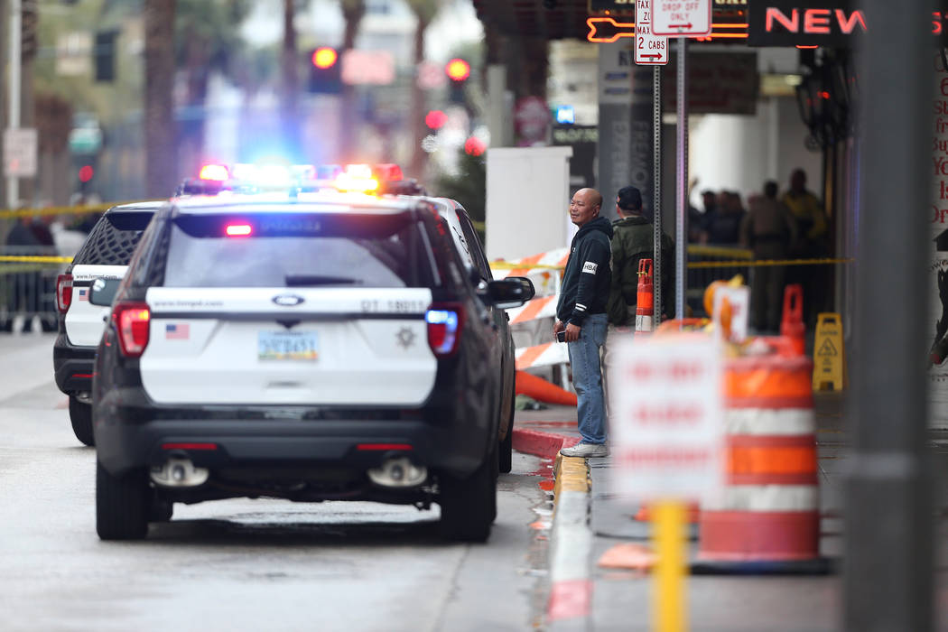 The scene of a shooting outside of Binion's hotel-casino in Las Vegas, Thursday, Jan. 17, 2019. Erik Verduzco Las Vegas Review-Journal @Erik_Verduzco