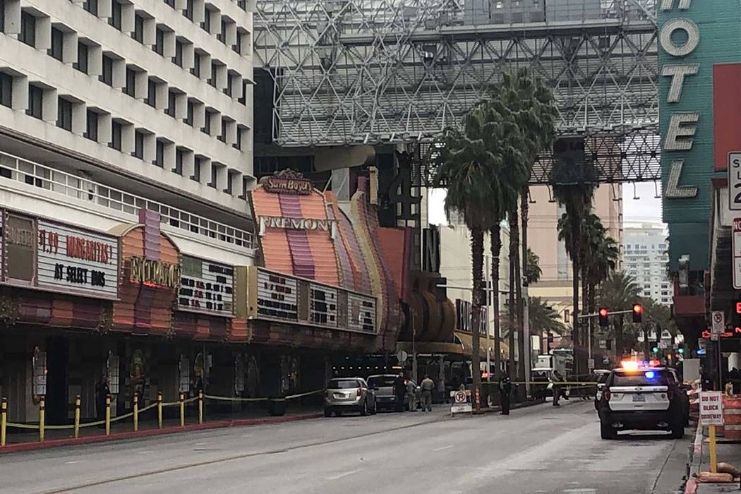 Metro police are investigating a shooting that injured one person in the 120 block of Fremont Street in downtown Las Vegas, Thursday, Jan. 17, 2019. (Katelyn Newberg/Las Vegas Review-Journal)