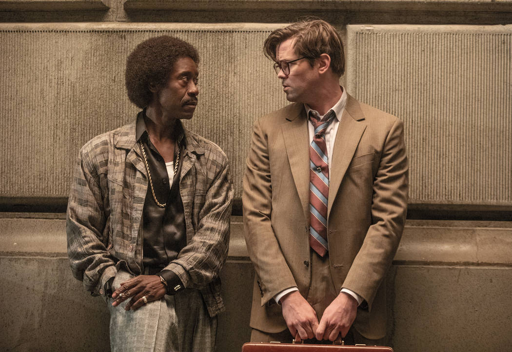 """Don Cheadle as Maurice Monroe and Andrew Ranells as Blair Pfaff in BLACK MONDAY (Episode 1, """"365"""") (Erin Simkin/SHOWTIME)"""