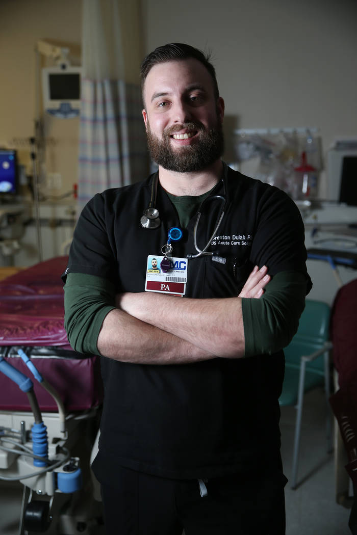 "Physician assistant Brent Dulak at University Medical Center in Las Vegas, Thursday, Jan. 17, 2019. Dulak is a former Army medic who wrote a graphic novel about his experiences called ""Machete Squ ..."