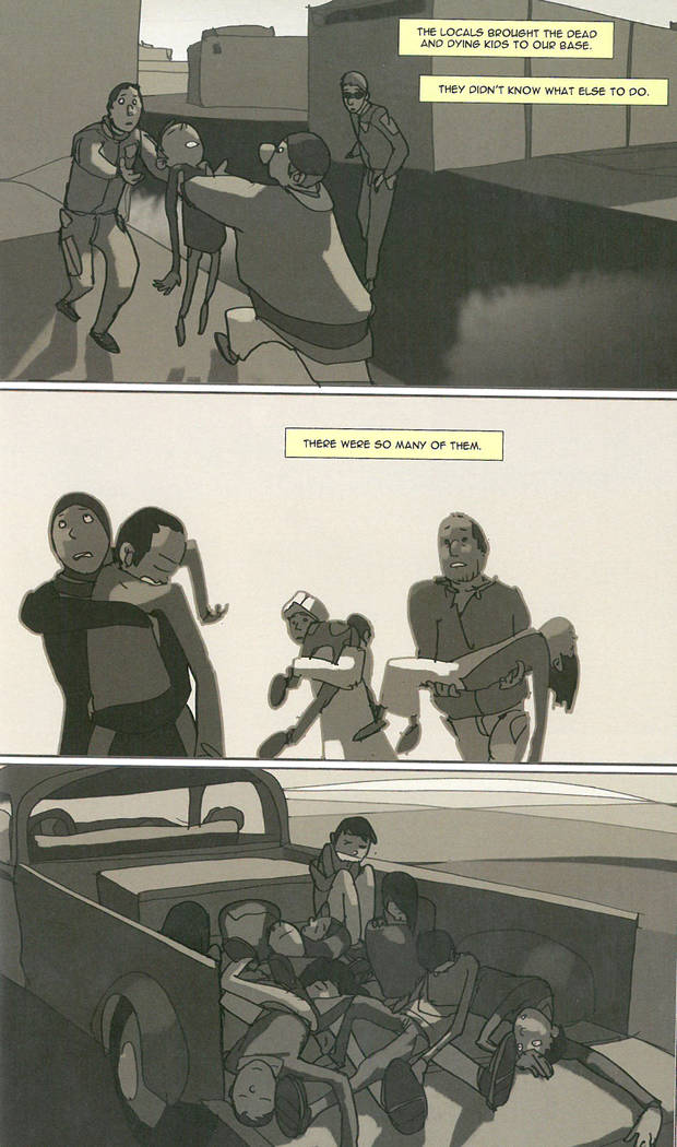 Images from the graphic novel Machete Squad written by Brent Dulak, Kevin Knodell, David Axe, Illustrated by Per Darwin Berg