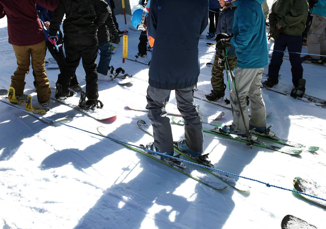 Skiers lined up to ride on ski lift at Lee Canyon on Friday, Jan. 18, 2019. Bizuayehu Tesfaye/Las Vegas Review-Journal @bizutesfaye