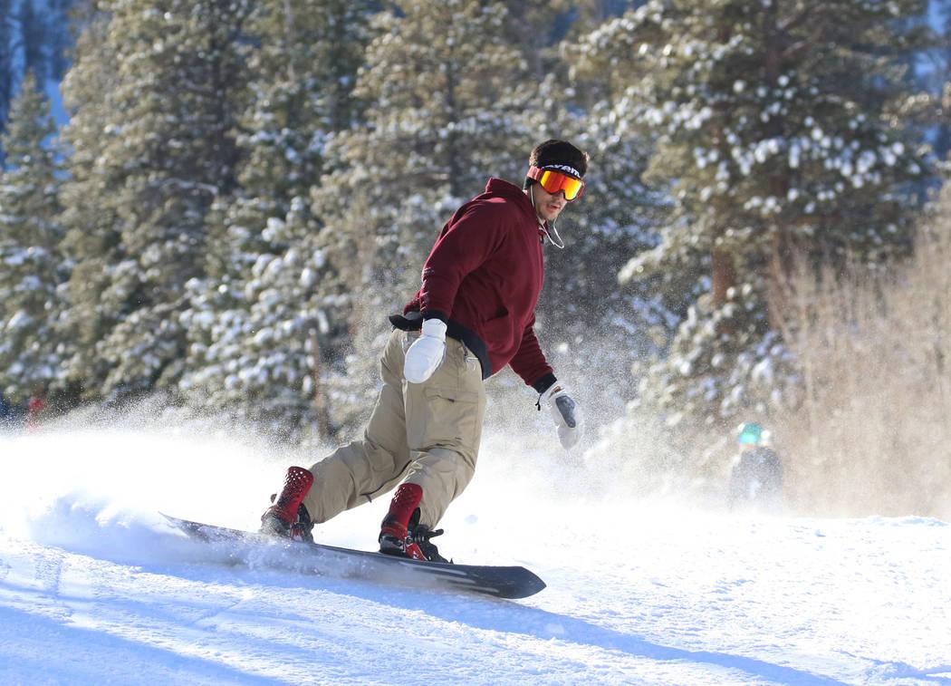Alex Lewis of Las Vegas snowboards at Lee Canyon on Friday, Jan. 18, 2019. Bizuayehu Tesfaye/Las Vegas Review-Journal @bizutesfaye