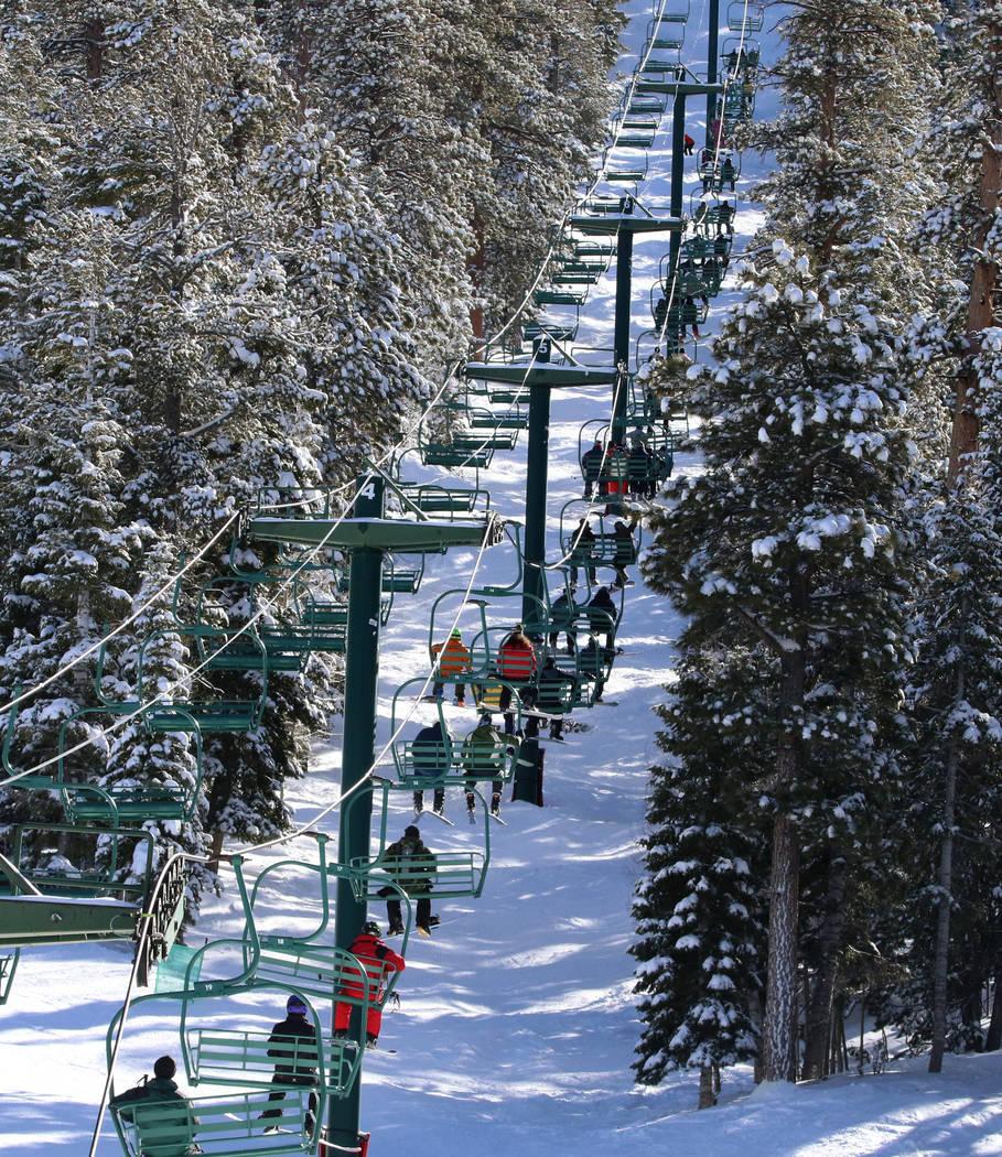 Skiers are seen riding on ski lift at Lee Canyon on Friday, Jan. 18, 2019. Bizuayehu Tesfaye/Las Vegas Review-Journal @bizutesfaye
