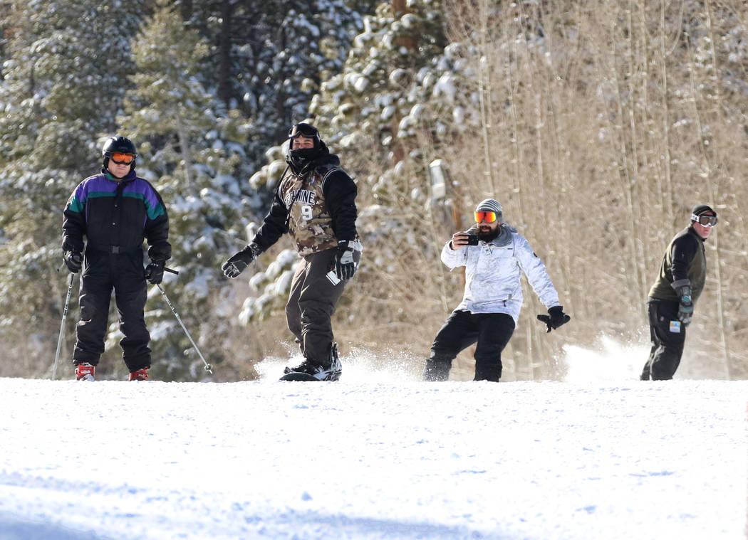 Skiers at Lee Canyon on Friday, Jan. 18, 2019. Bizuayehu Tesfaye/Las Vegas Review-Journal @bizutesfaye