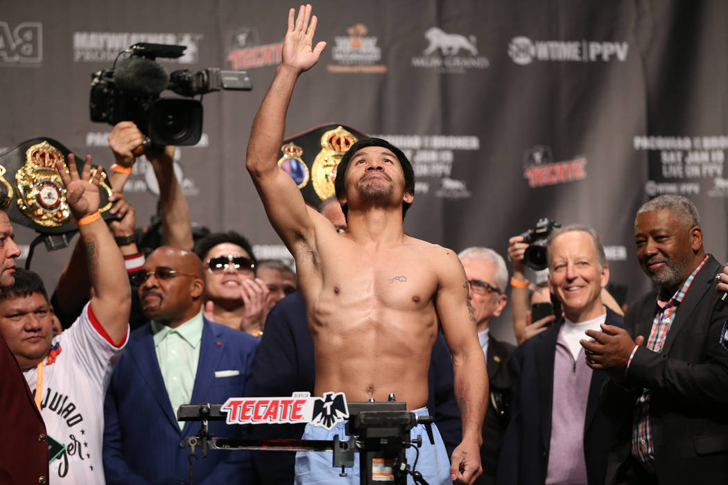 Manny Pacquiao during his weigh-in at the MGM Grand Garden Arena in Las Vegas, Friday, Jan. 18, 2019. Erik Verduzco Las Vegas Review-Journal @Erik_Verduzco