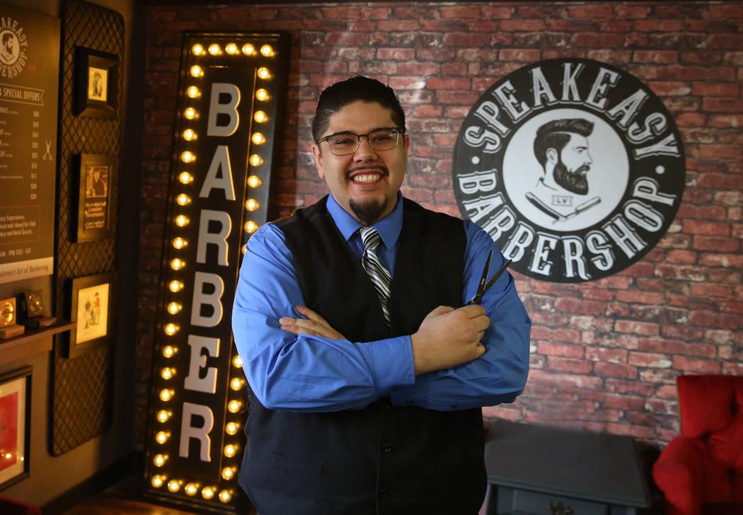 Barber Andres Dominguez poses for a photo at his Speakeasy Barbershop LV at El Cortez hotel-casino on Saturday, Jan. 19, 2019, in Las Vegas. Bizuayehu Tesfaye/Las Vegas Review-Journal @bizutesfaye