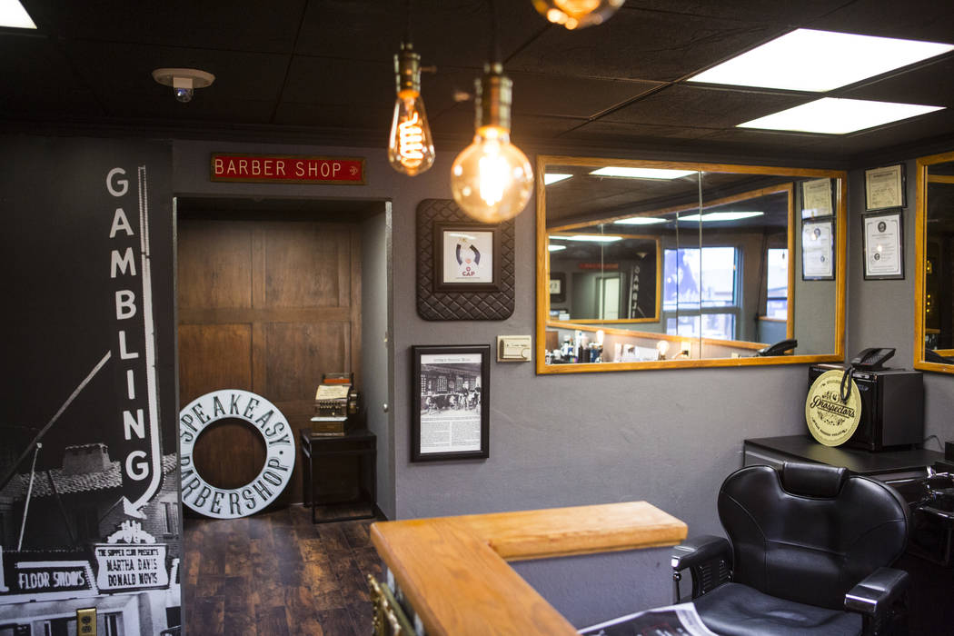 A view of the Speakeasy Barbershop at the hotel-casino in downtown Las Vegas on Tuesday, Jan. 15, 2019. Chase Stevens Las Vegas Review-Journal @csstevensphoto