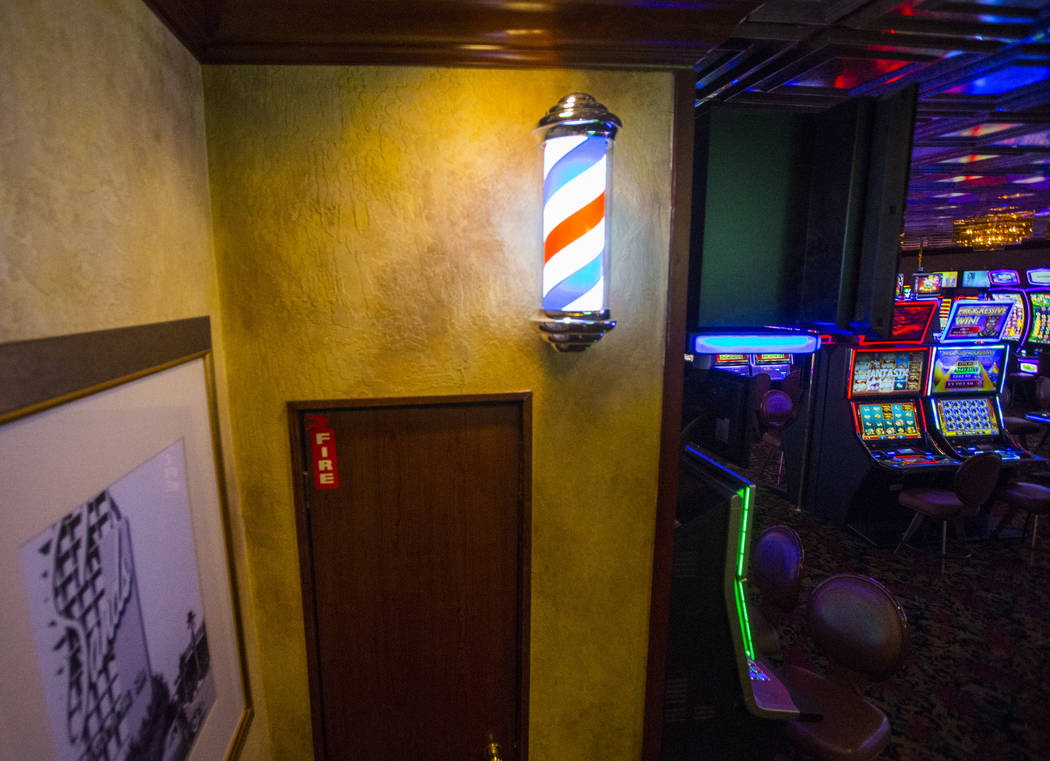 A barber's pole by the casino floor at the El Cortez in downtown Las Vegas on Tuesday, Jan. 15, 2019. Dominguez's grandfather worked at the barbershop starting in 1974, and as a child Dominguez wo ...
