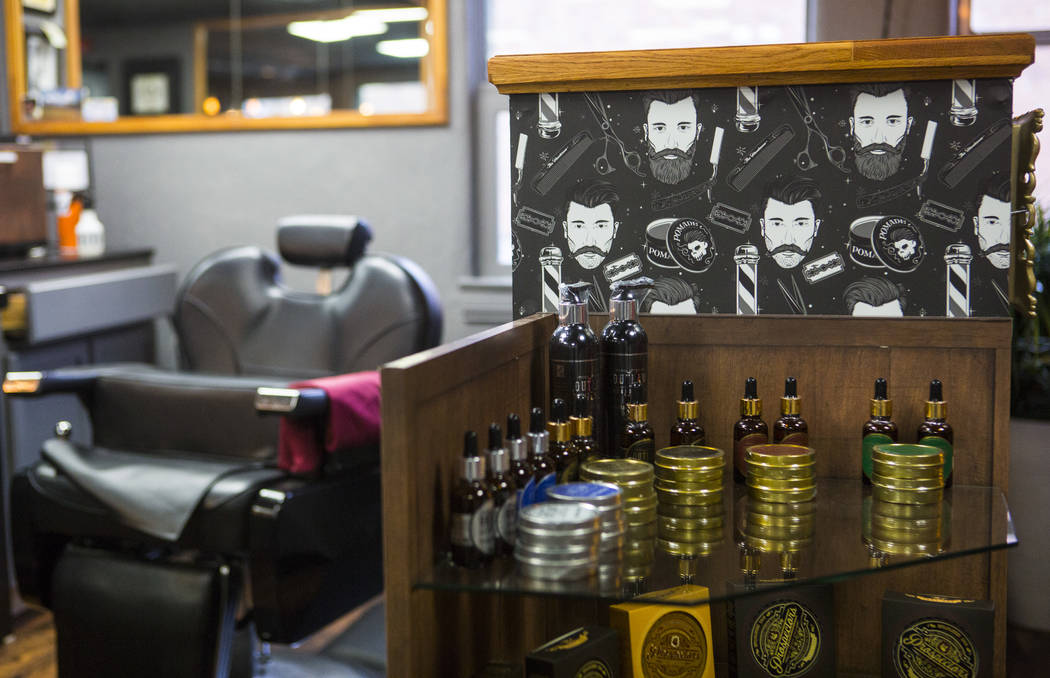 Products on display at Speakeasy Barbershop at the El Cortez in downtown Las Vegas on Tuesday, Jan. 15, 2019. Chase Stevens Las Vegas Review-Journal @csstevensphoto