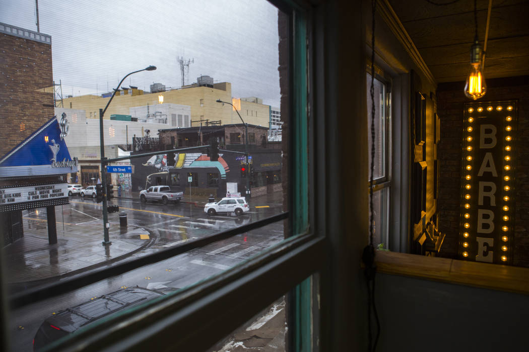 A view of Fremont Street from the Speakeasy Barbershop at the El Cortez in downtown Las Vegas on Tuesday, Jan. 15, 2019. Chase Stevens Las Vegas Review-Journal @csstevensphoto