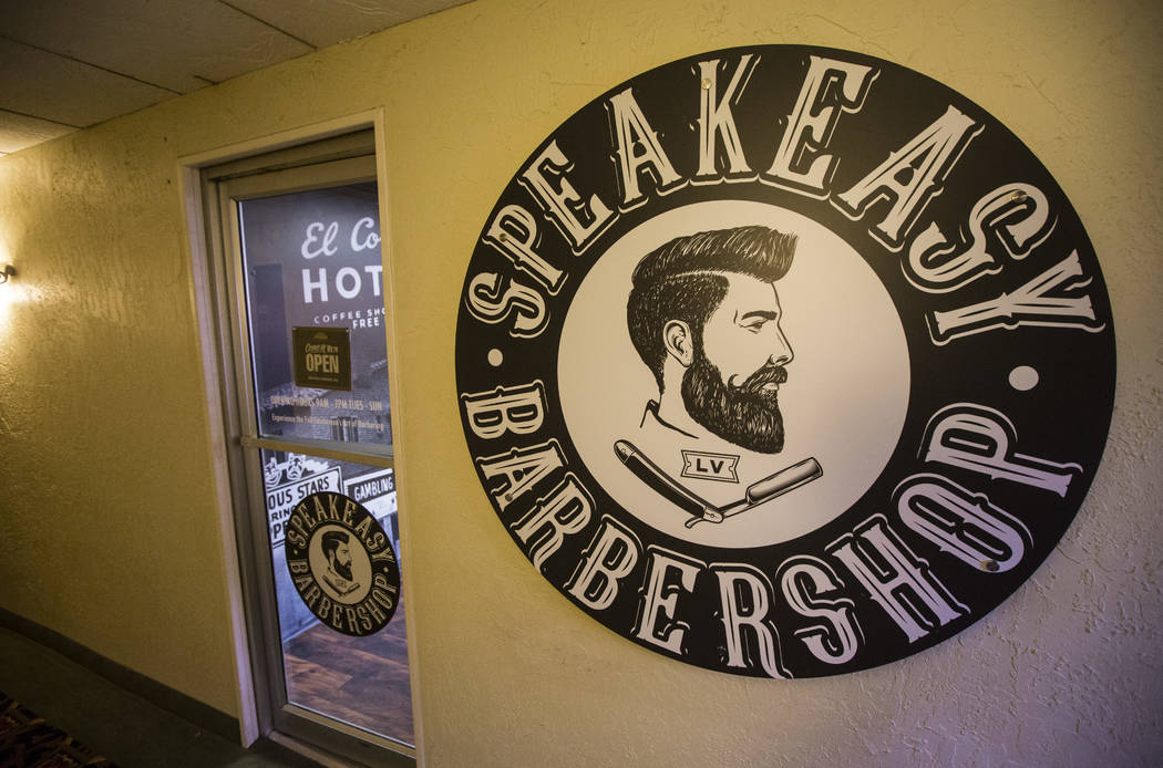 Speakeasy Barbershop at the El Cortez in downtown Las Vegas on Tuesday, Jan. 15, 2019. Dominguez's grandfather worked at the barbershop starting in 1974, and as a child Dominguez would hang out an ...