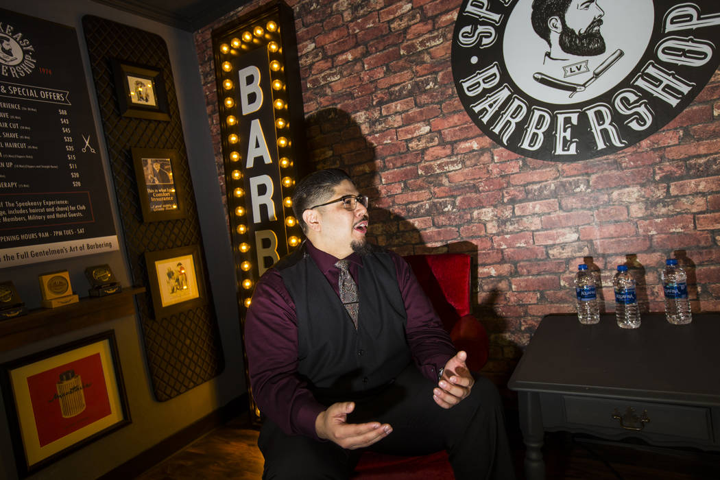 Speakeasy Barbershop owner Andres Dominguez talks about his business at the El Cortez in downtown Las Vegas on Tuesday, Jan. 15, 2019. Dominguez's grandfather worked at the barbershop starting in ...