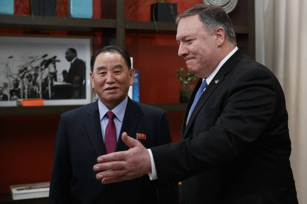 Secretary of State Mike Pompeo, right, and Kim Yong Chol, a North Korean senior ruling party official and former intelligence chief, walk from a photo opportunity at the The Dupont Circle Hotel in ...