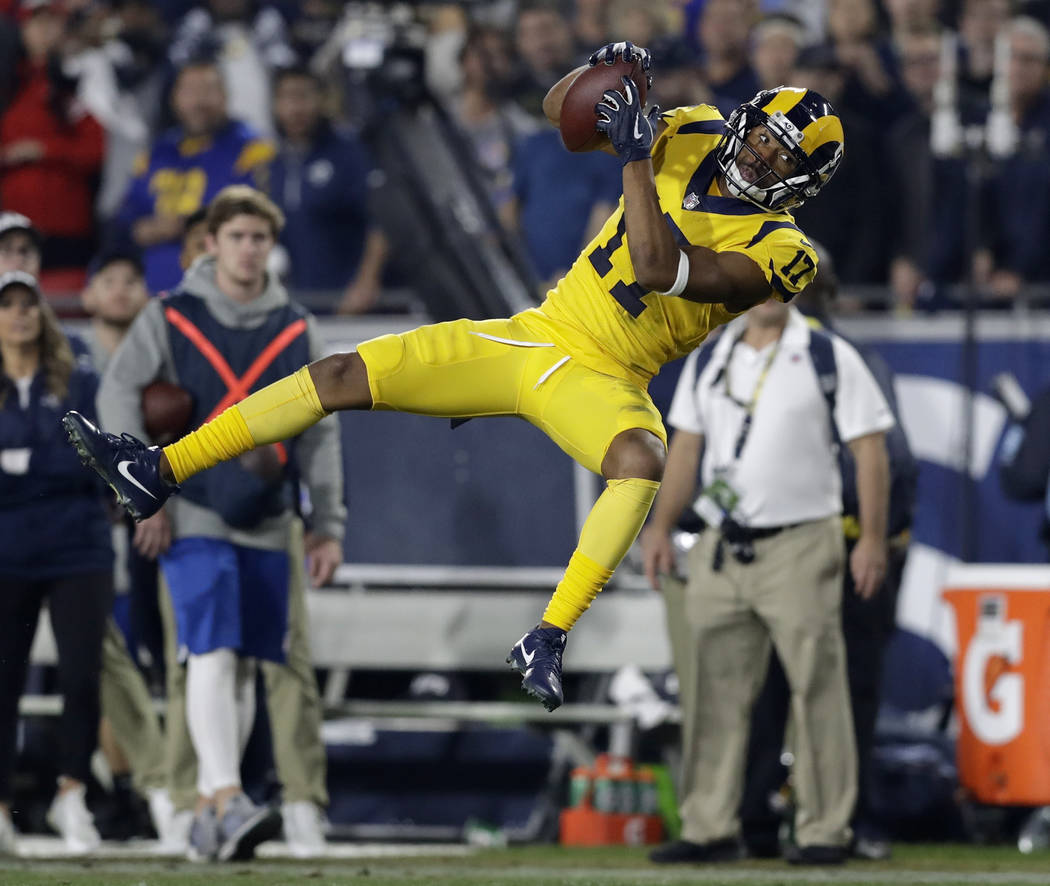 Los Angeles Rams wide receiver Robert Woods makes a catch against the Kansas City Chiefs during the first half of an NFL football game Monday, Nov. 19, 2018, in Los Angeles. (AP Photo/Marcio Jose ...