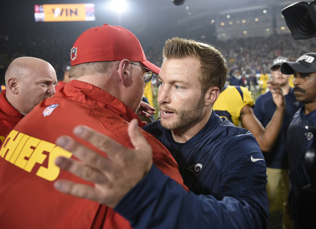 File- This Nov. 19, 2018, file photo shows Los Angeles Rams head coach Sean McVay, right, greeting Kansas City Chiefs head coach Andy Reid, left, after an NFL football game, in Los Angeles. The R ...