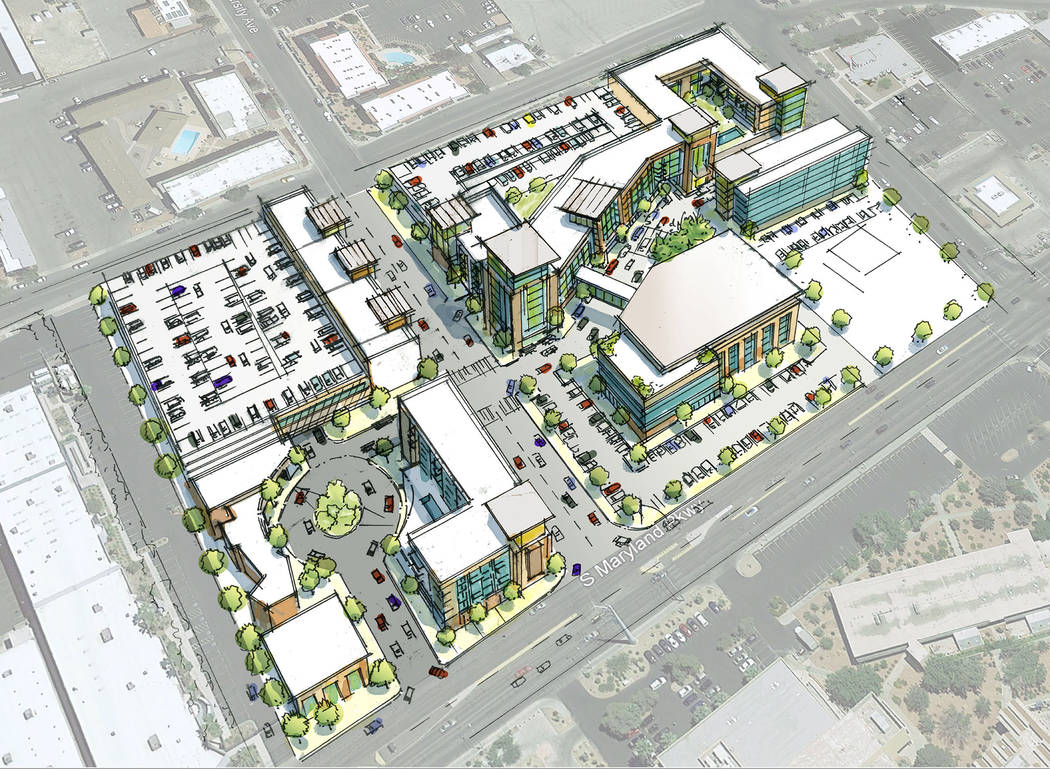 Las Vegas developer Frank Marretti is tearing down Campus Village near UNLV. He has not filed project plans, but this rendering shows a possible concept for the site. (G2 Capital Development)