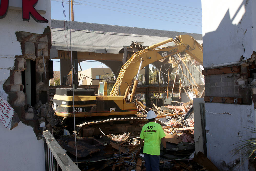 Campus Village shopping center, on Maryland Parkway across from UNLV, is demolished to make way for new development on Friday, Jan. 18, 2019. (Michael Quine/Las Vegas Review-Journal) @Vegas88s