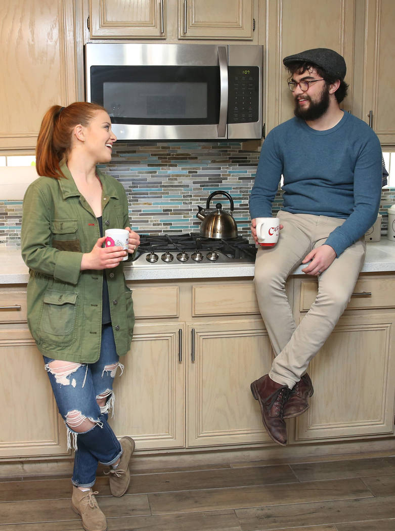 Emma Gould, 22, left, and her fiance Alex Weisz, 22, at their Summerlin home on Tuesday, Jan. 22, 2019, in Las Vegas. Weisz and Gould moved from Los Angeles and bought their home in May 2018. (Biz ...