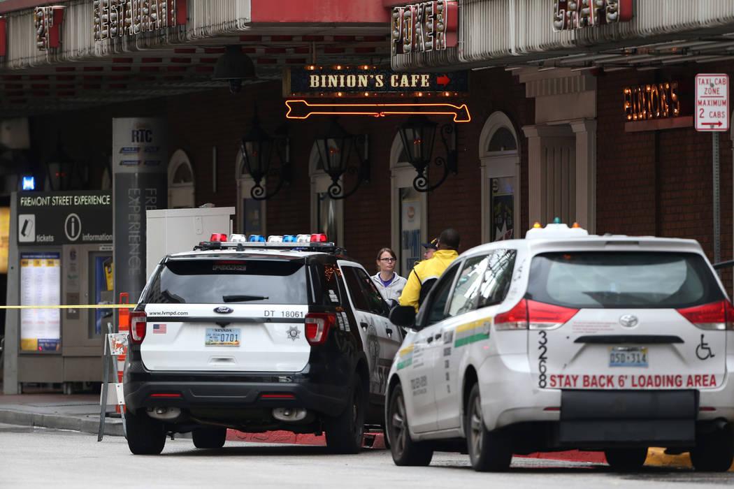 The scene of a shooting outside of Binion's in downtown Las Vegas, Thursday, Jan. 17, 2019. (Erik Verduzco/Las Vegas Review-Journal) @Erik_Verduzco