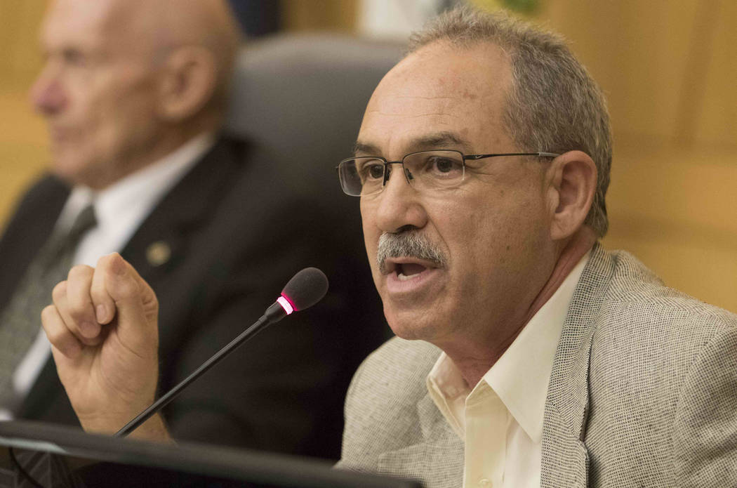 John Vellardita discusses the proposal to reorganize the Clark County School District during a town hall meeting at the Clark County Government Center in downtown Las Vegas on Tuesday, Aug. 9, 201 ...