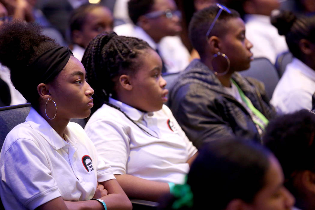 Students, including Bria Preston, 13, an eighth grader at Rainbow Dreams Academy, left, during the the first Dr. Martin Luther King Jr. Technology Summit at Zappos headquarters in downtown Las Veg ...