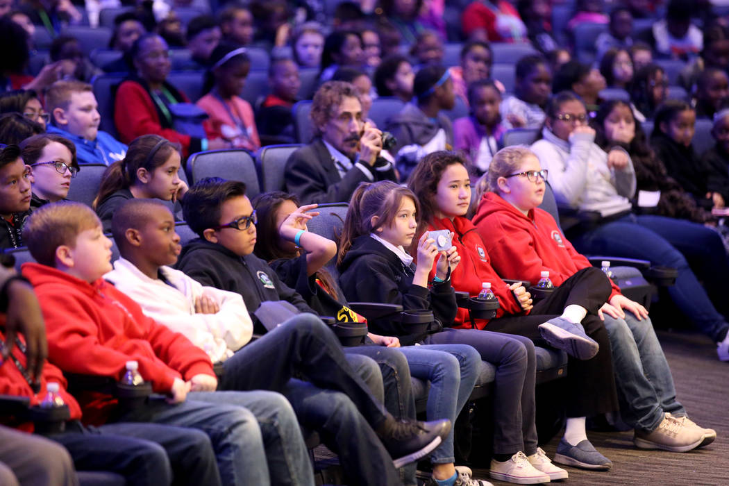Students listen during the the first Dr. Martin Luther King Jr. Technology Summit at Zappos headquarters in downtown Las Vegas Friday, Jan. 18, 2019. (K.M. Cannon/Las Vegas Review-Journal) @KMCann ...