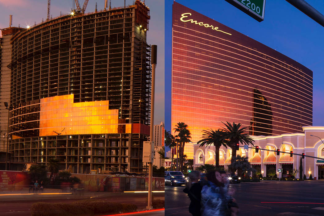 Resorts World Las Vegas construction and Encore by Wynn Las Vegas are pictured in this composite photo. (Las Vegas Review-Journal)