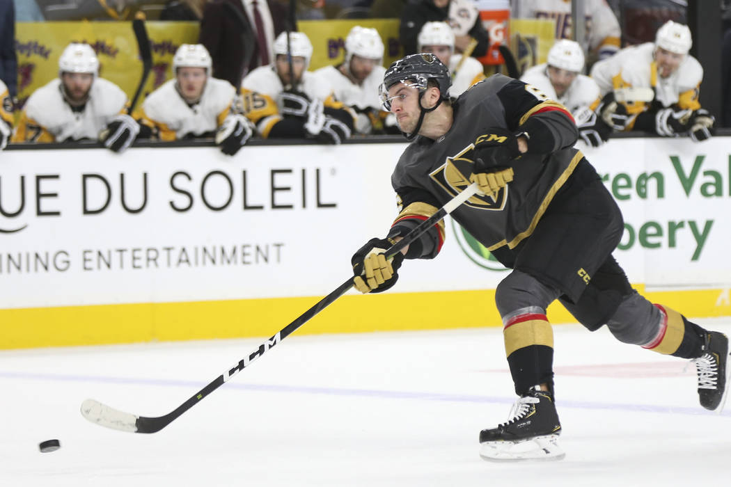 Golden Knights defenseman Colin Miller (6) shoots against the Pittsburgh Penguins during the first period of an NHL hockey game at T-Mobile Arena in Las Vegas on Saturday, Jan. 19, 2019. Chase Ste ...
