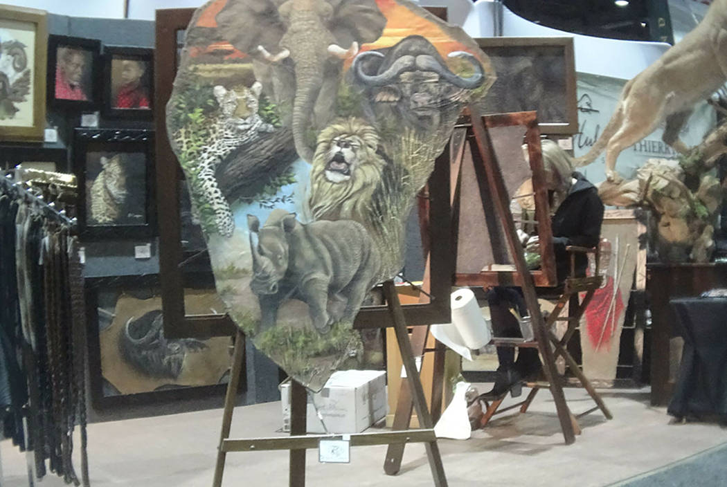 This image shows a painting on elephant hide for sale at the Safari Club International conference in Reno on Jan. 9, 2019. (Humane Society of the United States via AP)