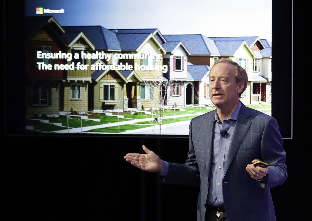 Microsoft Corp. President Brad Smith speaks Thursday, Jan. 17, 2019, during a news conference in Bellevue, Wash., to announce a $500 million pledge by Microsoft to develop affordable housing for l ...
