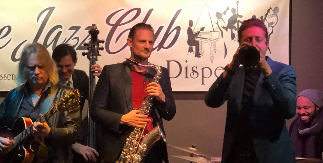 Members of Lady Gaga's backing band Steve Koryka (sax), Daniel Foose (bass) and Brian Newman (sax) join Vegas player Jake Langley (guitar) at Dispensary Lounge on 2451 E. Tropicana Ave. on Wednesd ...