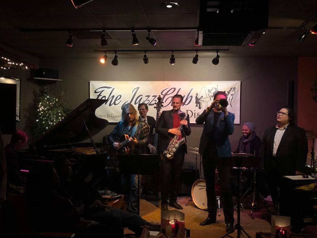 Members of Lady Gaga's backing band Members of Lady Gaga's backing band Alex Smith (piano), Daniel Foose (bass), Steve Koryka (sax), Donald Barrett (drums) and Brian Newman (trumpet), join Vegas p ...