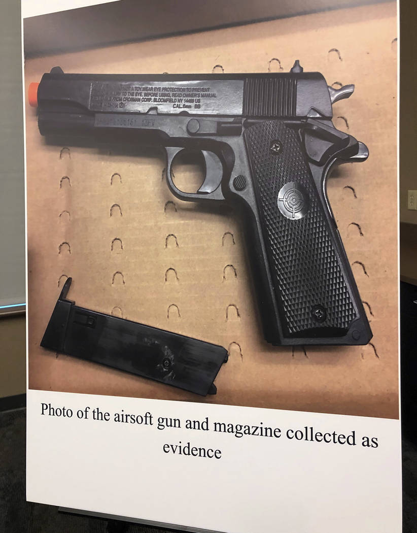 An evidence photo of what Tempe, Ariz., police say is the replica handgun recovered from a boy who was shot by an officer is displayed at a news conference in Tempe Friday, Jan. 18, 2019. Police C ...