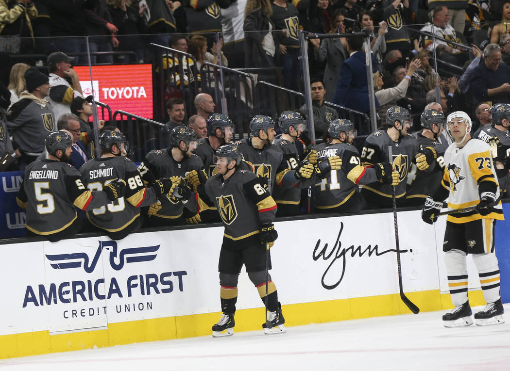 Golden Knights center Jonathan Marchessault (81) celebrates his goal during the second period of an NHL hockey game against the Pittsburgh Penguins at T-Mobile Arena in Las Vegas on Saturday, Jan. ...