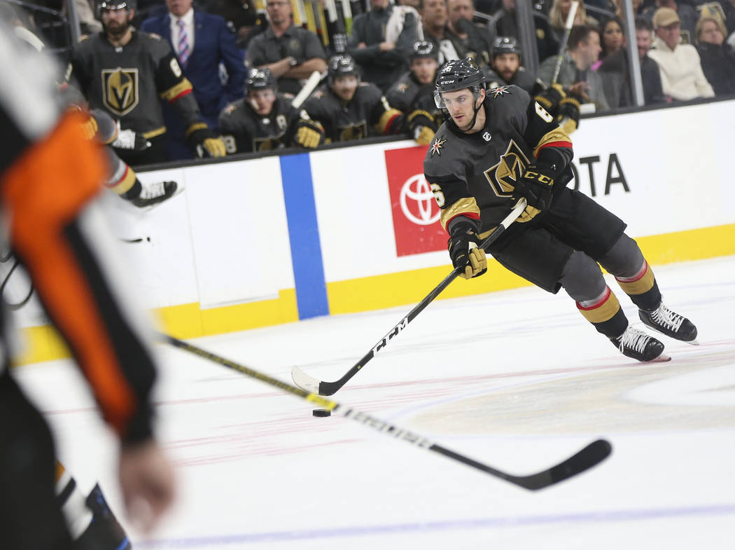 Golden Knights defenseman Colin Miller (6) looks to shoot against the Pittsburgh Penguins during the first period of an NHL hockey game at T-Mobile Arena in Las Vegas on Saturday, Jan. 19, 2019. C ...