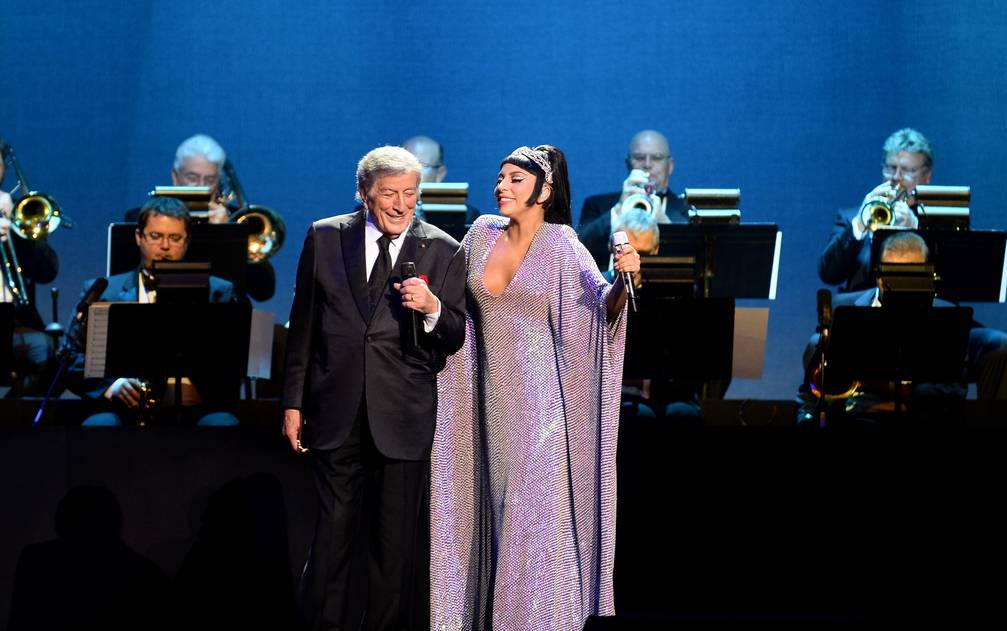 Tony Bennett and Lady Gaga perform together at The Chelsea in The Cosmopolitan of Las Vegas, Tuesday, Dec. 30, 2014. (Ethan Miller/WireImage)