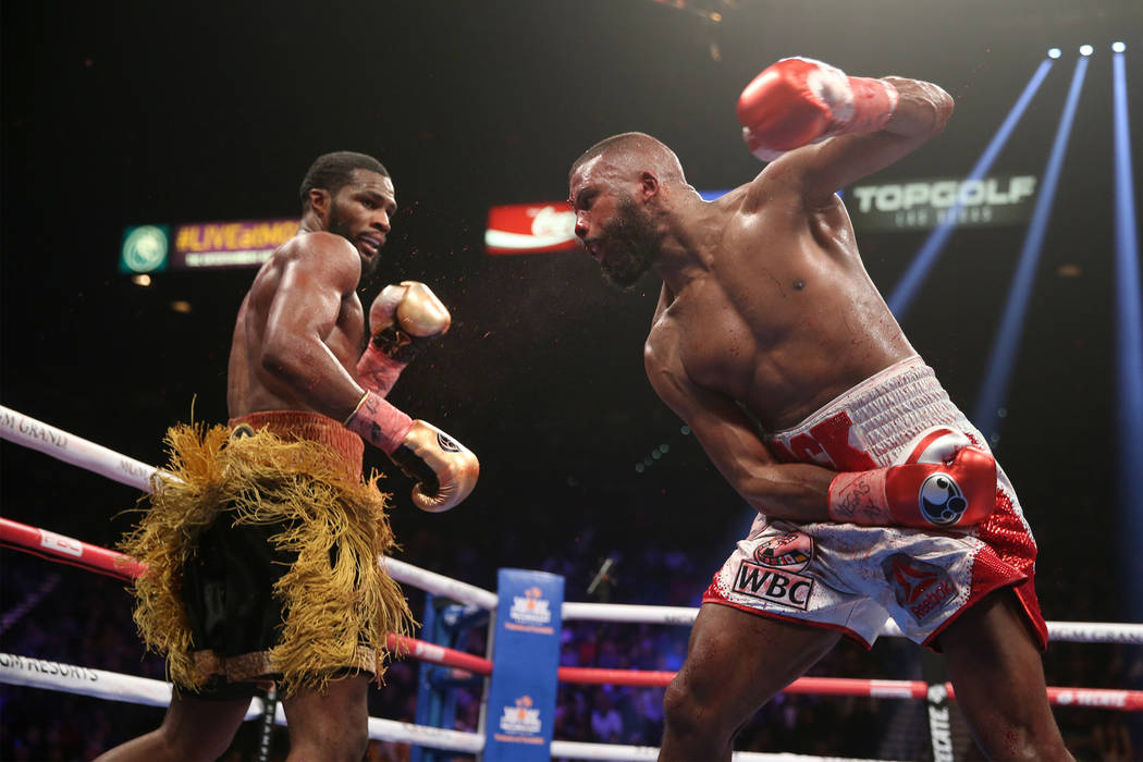 Marcus Browne, left, moves away from a punch against Badou Jack in the WBA interim and WBC Silver light heavyweight title bout at the MGM Grand Garden Arena in Las Vegas, Saturday, Jan. 19, 2019. ...