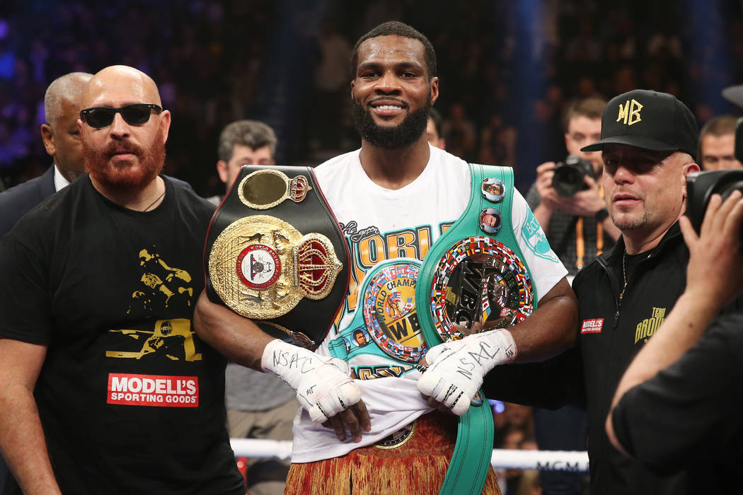 Marcus Browne poses after his win against Badou Jack in the WBA interim and WBC Silver light heavyweight title bout at the MGM Grand Garden Arena in Las Vegas, Saturday, Jan. 19, 2019. Browne won ...